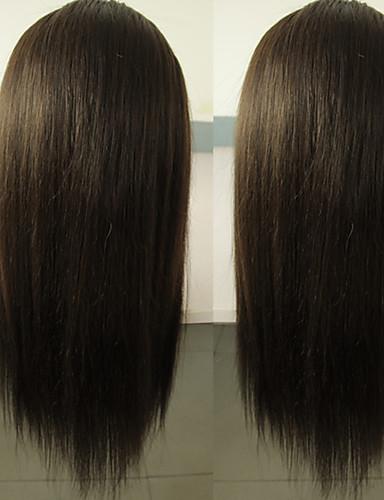 povoljno Perike s ljudskom kosom-Virgin kosa Perika pune čipke bez ljepila Lace Front Perika Kardashian stil Brazilska kosa Silky Straight Priroda Crna Perika 130% 150% Gustoća kose 8-24 inch s dječjom kosom Prolijevanje besplatno