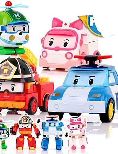 cheap Kids' Action & Toy Figures-Animals Action Figure Transformable Car Plastic Shell Cartoon 4 pcs Kid's Boys' Girls' Toy Gift