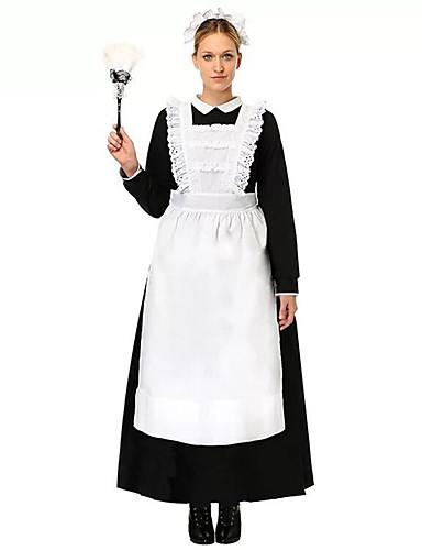 povoljno Maske i kostimi-Kostimi sluškinje Outfits Bib pregača Haljine Žene Pamuk Kostim Crna s bijelim Vintage Cosplay Dugih rukava Do sredine lista