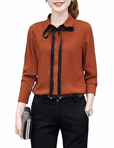 billige Skjorter til damer-Skjortekrage Store størrelser Skjorte Dame - Ensfarget, Sløyfe / Blondér Grunnleggende Arbeid Brun / Vår / Sommer