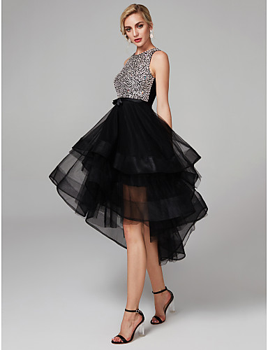 cheap Homecoming Dresses-Ball Gown Sparkle & Shine High Low Cute Cocktail Party Prom Dress Jewel Neck Sleeveless Knee Length Satin Tulle with Beading Cascading Ruffles 2020 / Keyhole