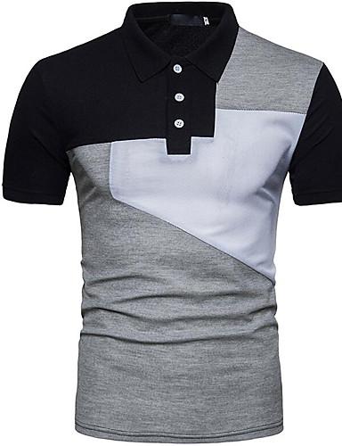 Ανδρικά T-shirt Βασικό Συνδυασμός Χρωμάτων Κολάρο Πουκαμίσου Στάμπα Λευκό / Κοντομάνικο