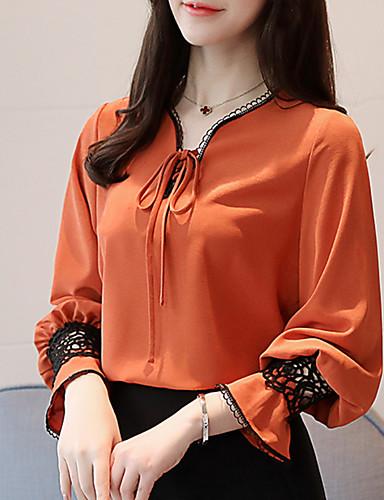 preiswerte Damenbekleidung-Damen Solide - Grundlegend Festtage Bluse, V-Ausschnitt Spitze / Patchwork Lantern Sleeve Orange / Frühling / Sommer / Mit Schleife