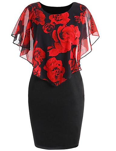 cheap Blue Dresses-Women's Floral Daily Basic Bodycon Dress - Floral Print Spring Blue Red Blushing Pink XXXL XXXXL XXXXXL