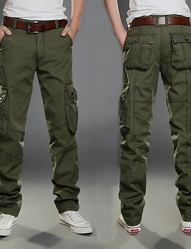 cheap Hiking Trousers & Shorts-Men's Hiking Pants Hiking Cargo Pants Solid Color Winter Outdoor Multi-Pocket Wear Resistance Cotton Pants / Trousers Bottoms Black Army Green Khaki Hiking Outdoor Exercise Multisport 28 29 30 31 32