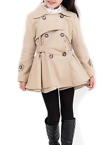 preiswerte Trenchcoats für Mädchen-Kinder Mädchen Street Schick Alltag Solide Langarm Lang Trenchcoat Rosa