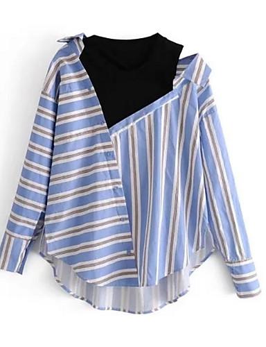 billige Dametopper-Løstsittende Skjorte Dame - Stripet Grunnleggende Ferie Lyseblå / Vår / Sommer