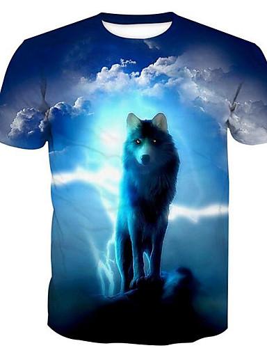 Men's Animal Wolf Print T-shirt Basic Daily Round Neck Blue / Summer / Short Sleeve