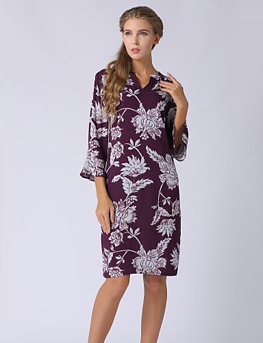3681c3803e96f Kadın's Büyük Bedenler Dışarı Çıkma Temel / Sokak Şıklığı Flare Kol  Kombinezon Elbise - Çiçekli, Desen V Yaka Diz üstü 6641480 2019 – $39.99