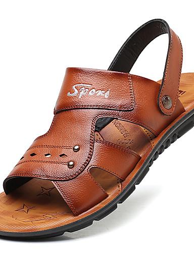 cheap Men's Shoes Hot Sale-Men's Comfort Shoes Spring / Summer Casual Casual Outdoor Beach Sandals Walking Shoes Microfiber Breathable Black / Brown Slogan / Beading / EU39