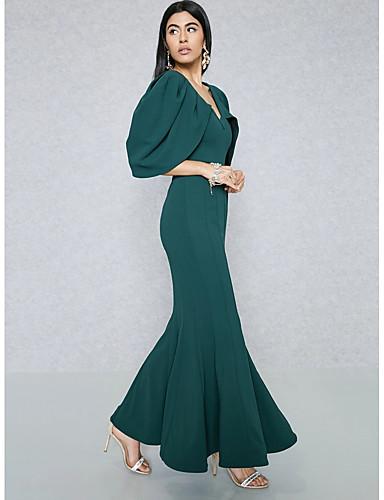 levne Maxi šaty-Dámské Větší velikosti Jdeme ven Šik ven / Sofistikované Štíhlý Bodycon / Pouzdro / Mořská panna Šaty - Jednobarevné Maxi Do V / Pod rameny Vysoký pas / Sexy