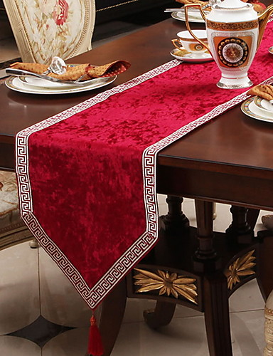 cheap decorating tip sets-Table Runner Silk Silky Contemporary Geometric Tabel cover Table decorations for Christmas Party / Evening Holiday New Year Square 33*180 cm milk white 1 pcs