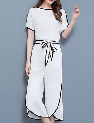 billige Todelt dress til damer-Dame Arbeid Gatemote / Sofistikert Store størrelser Sett Bukse - Lapper / Bred Bukseben, Ensfarget / Fargeblokk / Sommer / Sexy