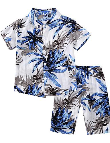 preiswerte Frische Palmenprints-Kinder Baby Jungen Grundlegend Alltag Tropisches Blatt Druck Druck Kurzarm Standard Baumwolle Kleidungs Set Blau
