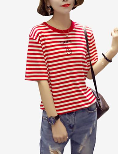 billige T-skjorter til damer-Bomull Løstsittende Crew-hals T-skjorte Dame - Stripet, Trykt mønster Grunnleggende Ferie Brun / Sommer