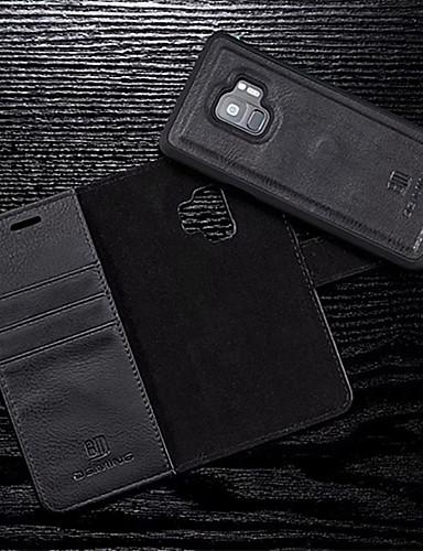Etui Til Samsung Galaxy S9 / S9 Plus / S8 Plus Lommebok / Kortholder / Flipp Heldekkende etui Ensfarget Hard PU Leather