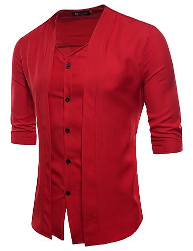 levne Pánské košile-Pánské - Jednobarevné Aktivní / Šik ven Košile Bavlna Do V Černá / Léto / Podzim