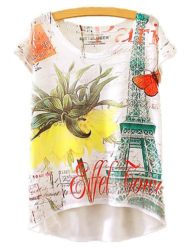 billige T-skjorter til damer-Bomull Løstsittende T-skjorte Dame - Blomstret, Trykt mønster Regnbue / Sommer