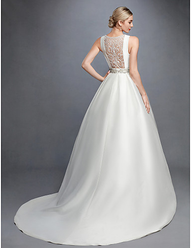 cheap Wedding Dresses-Ball Gown Bateau Neck Court Train Lace / Satin Regular Straps Formal Backless Wedding Dresses with Lace / Sash / Ribbon / Beading 2020