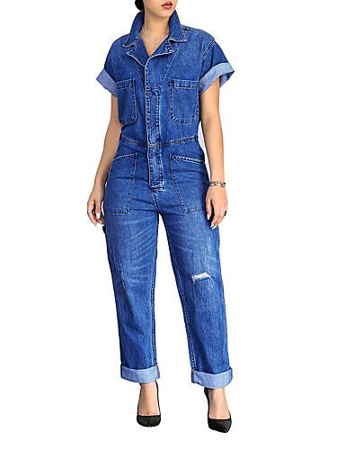 billige Dametopper-Dame Store størrelser Daglig Vintage Blå Sparkedrakter, Ensfarget Dusk Puffermer L XL XXL Bomull Kortermet Vår