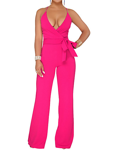 8ed01ac6cab7 Women s Wide Leg Daily   Going out Basic   Street chic Deep V Fuchsia Wine  Army Green Wide Leg Slim Jumpsuit