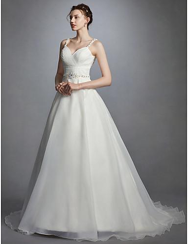 Plesové šaty Srdcový výstřih Velmi dlouhá vlečka Organza Svatební ... c60b21d97d