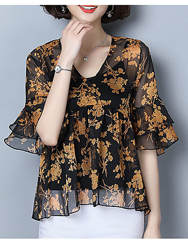 6d84a72b65f6ea Women s Street chic Plus Size Blouse - Floral Print V Neck   Spring    Summer 6667955 2019 –  17.09