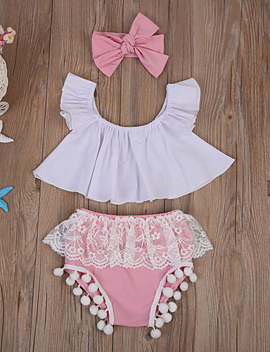 preiswerte Schleifen-Mädchenkleidung-Baby Mädchen Grundlegend Alltag Einfarbig Ärmellos Standard Baumwolle Kleidungs Set Rosa