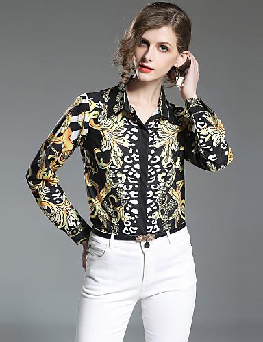 billige Dametopper-Tynn Skjortekrage Skjorte Dame - Paisly, Trykt mønster Gatemote Arbeid