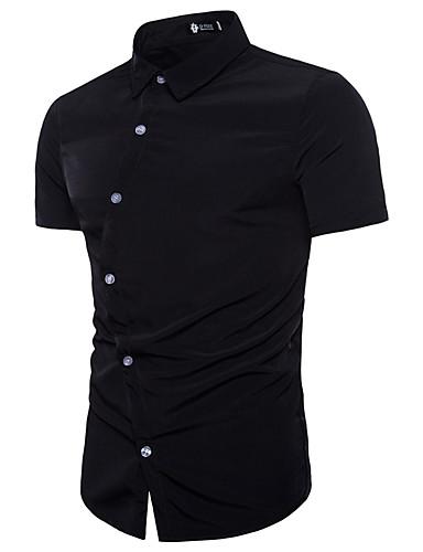 Bomull EU / USA størrelse Skjorte Herre - Ensfarget, Blondér Grunnleggende Svart / Kortermet