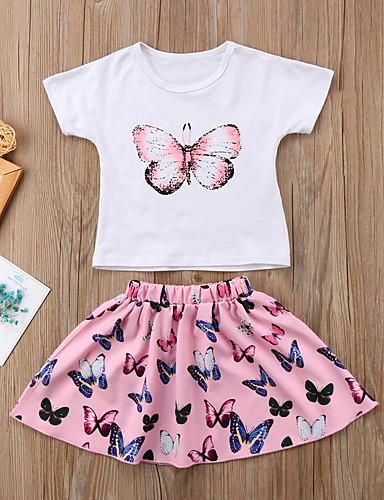 preiswerte Mach mit bei der tierischen Party-Baby Mädchen Aktiv Grundlegend Alltag Schultaschen Schmetterling Solide Druck Gefaltet Druck Kurzarm Baumwolle Kleidungs Set Rosa