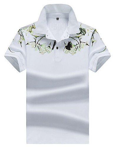 levne Pánská polo trika-Pánské - Květinový Šik ven Polo Košilový límec Bílá / Krátký rukáv