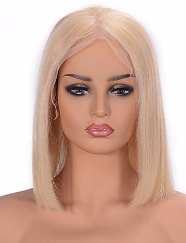 abordables Pelucas de Cabello Natural-Peluca Pelo Natural Encaje Frontal Cabello Vietnamita Recto Rubio Corte Bob Parte media Mujer Densidad 130% 150% con pelo de bebe nuevo Corta Blonde Wig Accessories