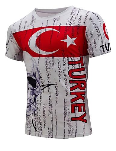 voordelige Heren T-shirts & tanktops-Heren Standaard T-shirt Katoen, Strand Kleurenblok Ronde hals Wit / Korte mouw