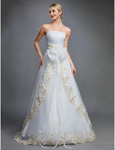 salón sin tirantes hasta el suelo organza vestidos de novia hechos a