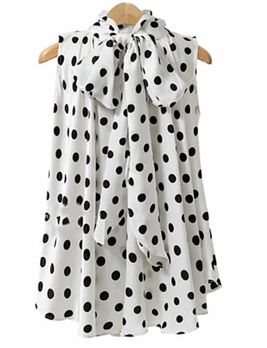 billige Skjorter til damer-Løstsittende Store størrelser Skjorte Dame - Polkadotter, Sløyfe Grunnleggende Hvit / Sommer