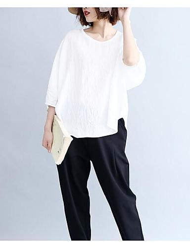billige Dametopper-Bomull Draperte ermer T-skjorte Dame - Ensfarget, Åpen rygg Vintage Svart og hvit / Dusty Rose Hvit