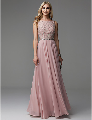 cheap Special Occasion Dresses-A-Line Open Back Pastel Colors Beaded & Sequin Prom Formal Evening Dress Boat Neck Sleeveless Floor Length Chiffon with Beading 2020