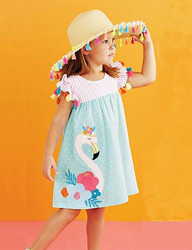 preiswerte Mach mit bei der tierischen Party-Baby Mädchen Süß Boho Festtage Wochenende Flamingos Gestreift Blumen Einfarbig Patchwork Bestickt Druck Ärmellos Knielang Kleid Blau / Baumwolle
