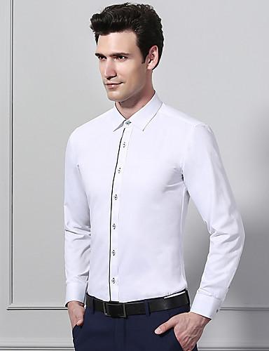 6b3b460f1feb33 Koszula Męskie Biznes / Podstawowy Bawełna Praca Szczupła - Solidne kolory  / Kolorowy blok / Długi rękaw 6689771 2019 – $17.33