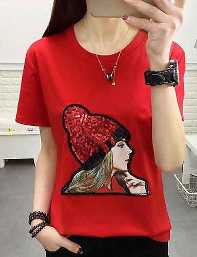 billige Dametopper-T-skjorte Dame - Geometrisk Grunnleggende Brun / Paljetter