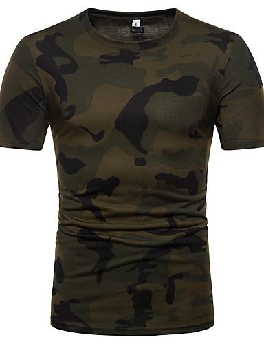 levne Pánská tílka-Pánské - maskování Základní Tričko Bavlna Kulatý Štíhlý Armádní zelená L / Krátký rukáv / Léto