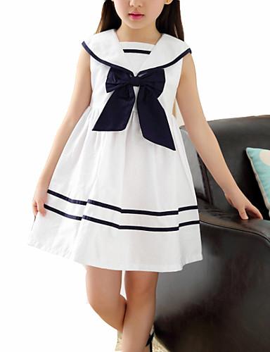preiswerte Schleifen-Mädchenkleidung-Kinder Mädchen Süß Einfarbig Ärmellos Kleid Blau