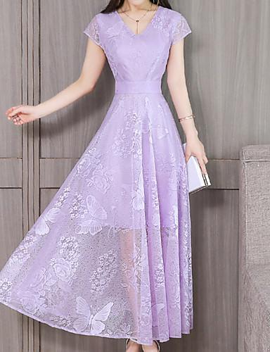 voordelige Maxi-jurken-Dames Grote maten Eenvoudig A-lijn Jurk - Effen V-hals Maxi Stoffige roos