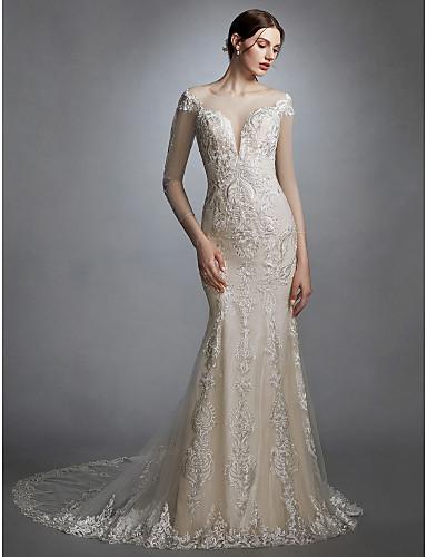 472d832e9 Sereia Scoop pescoço Cauda Capela Renda   Tule Vestidos de casamento feitos  à medida com Apliques de LAN TING BRIDE® de 6117698 2019 por  229.99