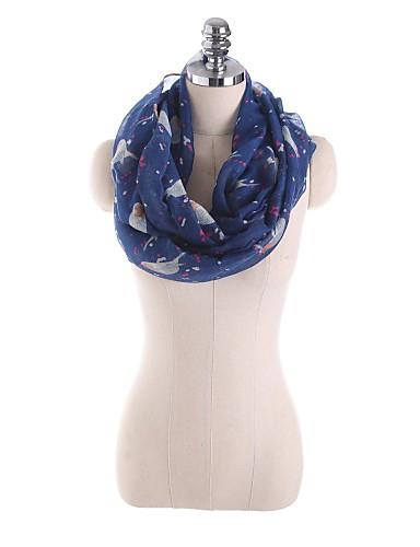 Dame Vintage / Kontor Uendelighetshalstørklæ - Netting, Trykt mønster BLå & Hvit / Svart & Rød / Svart og hvit Bomull / Alle årstider