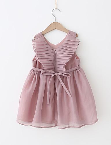 preiswerte Ausverkauf-Kinder Mädchen Süß Street Schick Party Ausgehen Staubige Rose Solide Schleife mit Schnürung Ärmellos Midi Kleid Weiß