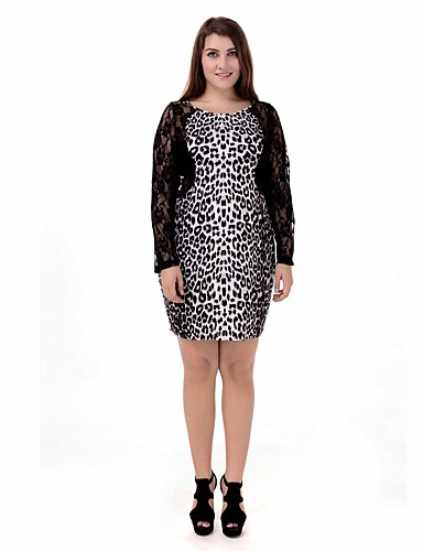 Women\'s Plus Size Holiday Basic Tunic Dress - Leopard Lace / Cut Out ...