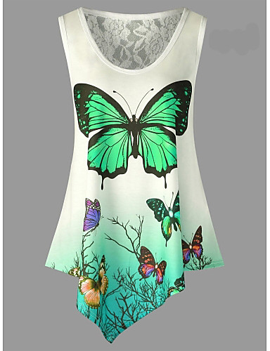 billige T-skjorter til damer-Tynn T-skjorte Dame - Geometrisk Aktiv Grønn / Sommer / Blonder