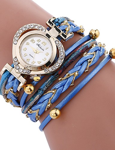 6fc50cfbd Women's Bracelet Watch Wrap Bracelet Watch Quartz Quilted PU Leather Black  / White / Blue Casual Watch Imitation Diamond Analog Ladies Heart shape  Elegant ...